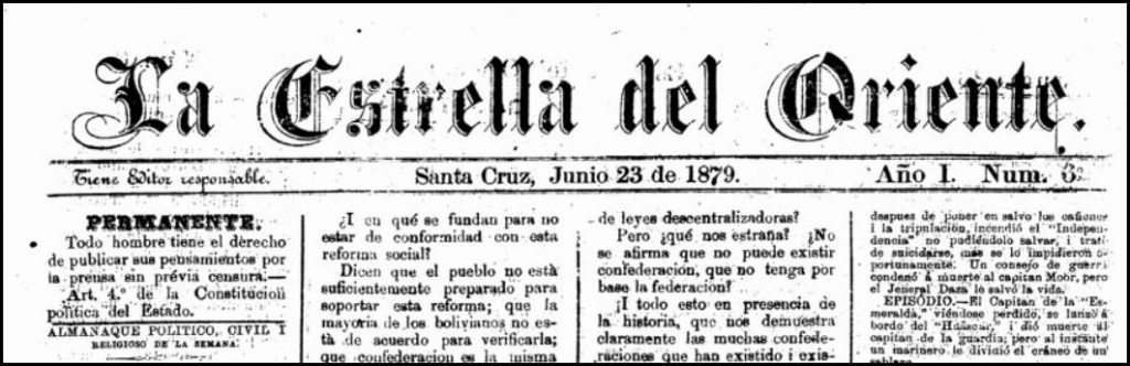 Nameplate of the newspaper, Estrella de Oriente, from Bolivia.